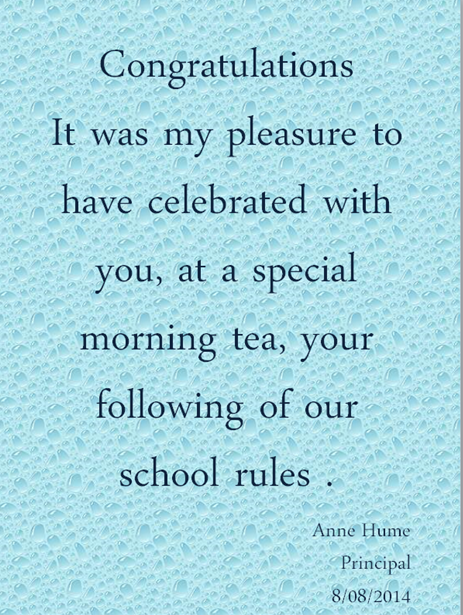 Principal morning tea